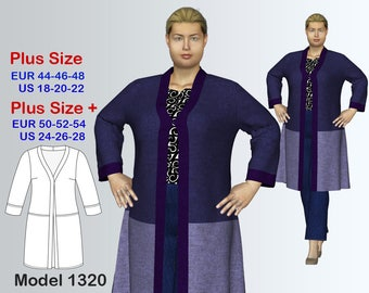 Plus size Cardigan Sewing Pattern PDF, Women's  sizes 18-28 , Plus size Cardigan PDF Instant Download Sewing Pattern