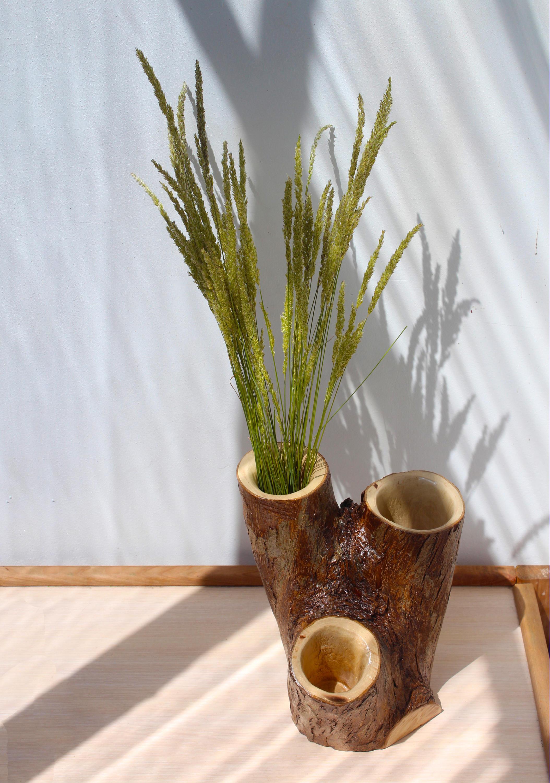 zoom Wooden Vase Rustic Tree Vase Flowers