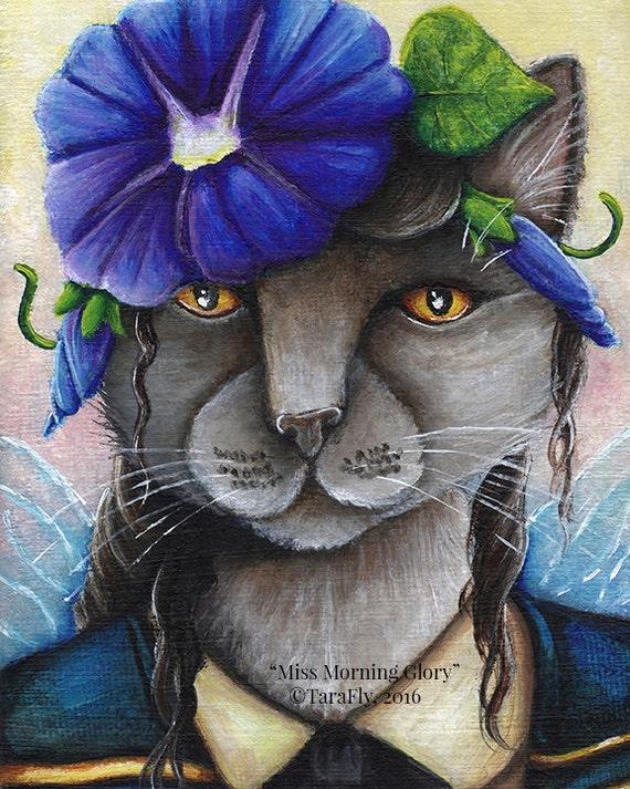 Morning Glory Cat Fairy, Russian Blue Cat Flower Fantasy Art 8x10 Print CLEARANCE