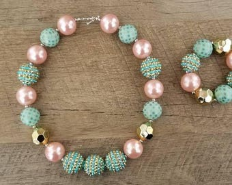 Mint Pink and Gold Necklace, Mint Pink & Gold Chunky Necklace, Bubblegum Bead Necklace, Baby Bubblegum Necklace, Shabby Chic Necklace
