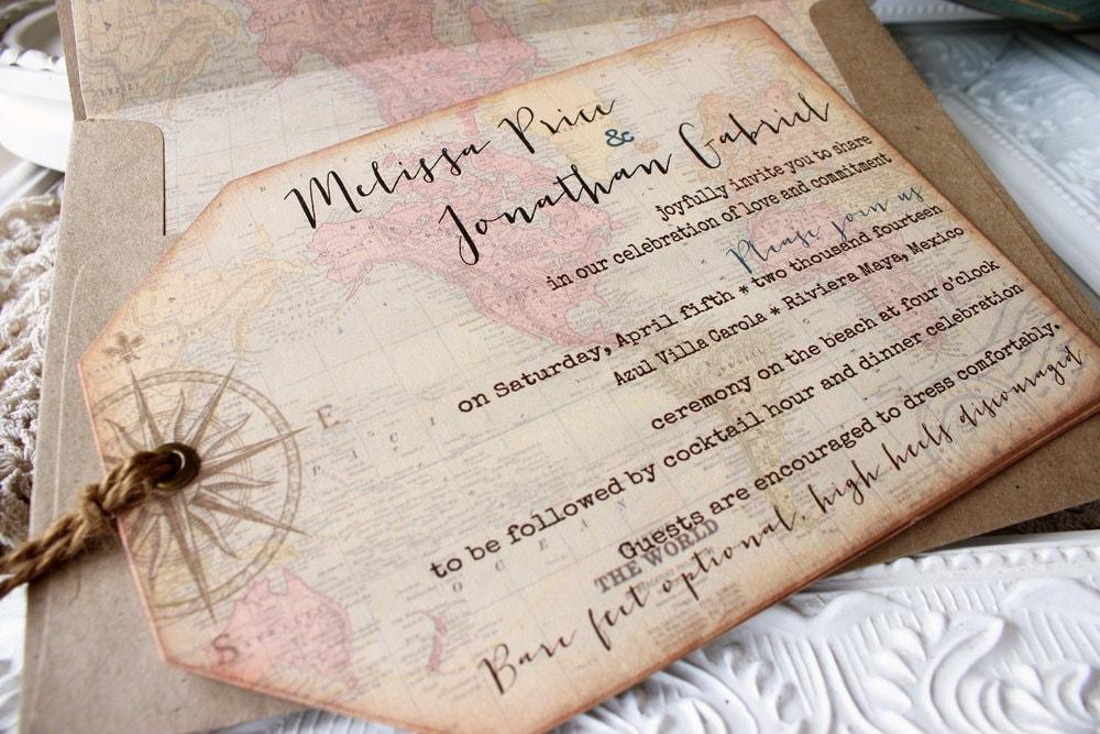Vintage World Map Wedding Invitation Destination
