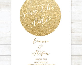 white gold save the date invitation, white gold glitter save the date invite, customizable save the date announcement