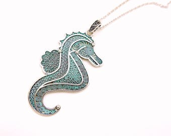 Seahorse Necklace, fantasy jewelry, hand painted jewelry