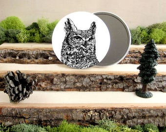 "Horned Owl Pocket Mirror - Owl Mirror - Owl Gift - Animal Pocket Mirror 3.5"" - Make up Bag - Make Up Mirror - Gift under 10 dollars"