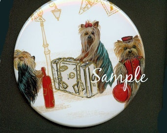 Mirror Three Cute Yorkies Yorkshire Terrier Travelling Paris  art Gift for Purse or Pocket 2 sizes available