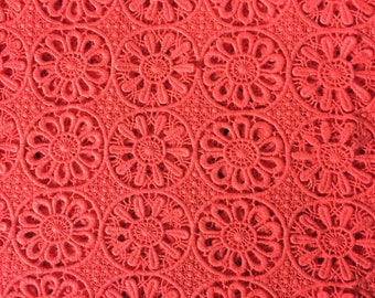 Fabric Remnant - Orange Textured  and Embroidered cut-out cotton fabric