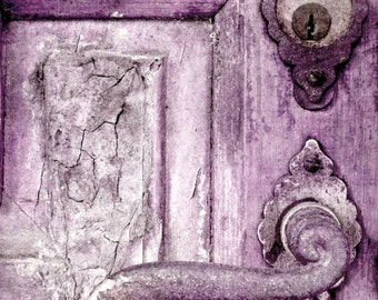 "Door Photography, Door Print, Rustic Decor, Old Door Art, French Farmhouse Art, Purple Home Decor, Shabby Rusty Weathered Door- ""Plum Door"""