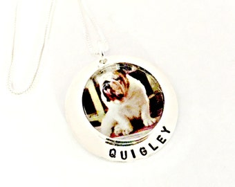 Custom Pet Photo Necklace - ACTUAL Pet Picture & Name - Personalized Sterling Silver Pet Lover's Remembrance, Loss, Memorial Jewelry, Gift