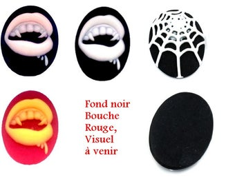 2 cameos in acrylic, vampire mouth or Web - 40x30mm - choose colors
