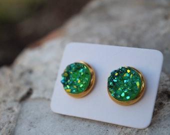Vibrant Green Druzy Earrings
