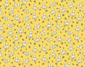 Yellow Lamb Fabric, Penny Rose Toy Chest C4855 Yellow, 1930s Reproduction Feedsack Quilt Fabric, Sheep Fabric, Cotton