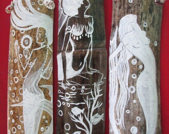 Set of 3 White Fantasy Mermaids- ORIGINAL ART- Hand Painted  on drift wood- white beach decor- Mermaid bathroom decor