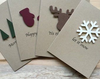 Rustic Holiday Card Set, Set of 8 Christmas Cards, Assorted Holiday Christmas Cards