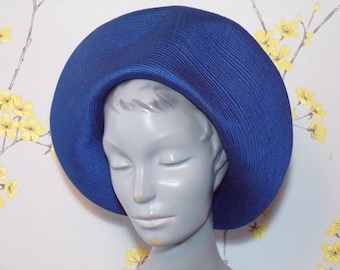 Vintage 60s does 40s Cerulean Blue Halo Hat Stitching Design Hardy Amies Hat Oversize Buttons