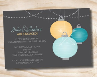 Hanging Paper Lanters Engagement Party Rehearsal Dinner Invitation - Printable digital file or printed invitations