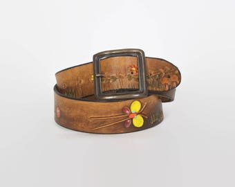 Vintage 70s Tooled BELT / 1970s Brown Leather Butterflies & Mushrooms Painted Hippie Belt