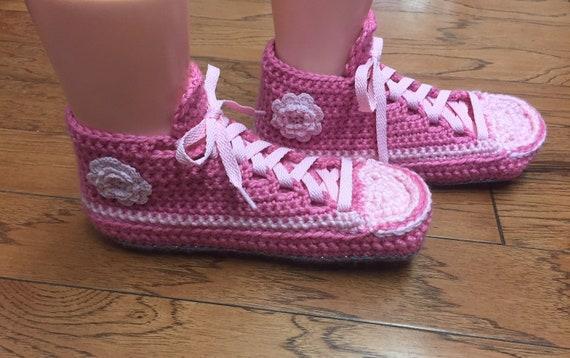 d2f1916e2fd65b pink sneakers pink flower house slippers shoe 8 tennis flower pink 6  slippers pink Crocheted Womens slippers 250 pink sneakers shoes sneaker  OIwX6qx