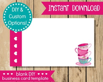 Blank diy business card pink mint flower do it yourself blank diy business card pink teal teacups do it yourself business card blank solutioingenieria Image collections