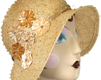 Natural Straw Summer Cloche Hat, Miss Fisher Cloche Hat Knotted Sisal, Vintage Inspired Hat