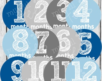 MONTHLY IRON ONS Decals or Monthly Stickers - 12 Monthly iron on heat transfers - for Baby boy - Blue and Grey Monthly Pack (Style#B06)