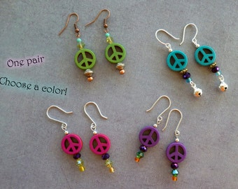 ONE PAIR Hippie Peace Sign Dangle Earrings with Glass Beads Groovy Boho