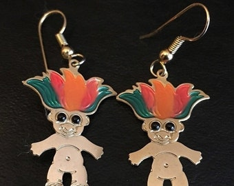 ON SALE Vintage 80's Russ Rainbow Goldtone Troll Earrings Green Red Orange Enamel RARE!