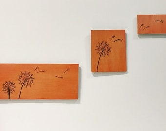 Orange Dandelion- Wood burned