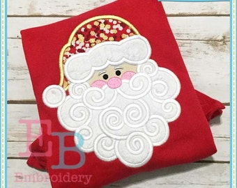 Swirly Beard Santa Applique - This design is to be used on an embroidery machine. Instant Download