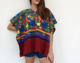 Colorful 70s tapestry woven open poncho top
