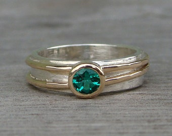 Chatham Emerald Engagement, Wedding, or Everyday Ring with Recycled 14k Yellow Gold and Recycled Sterling Silver, Made to Order