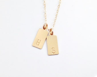 Custom Hand Stamped Necklace / Gold Initial Tags / Mini Petite Tag Necklace / 14k GOLD FILLED