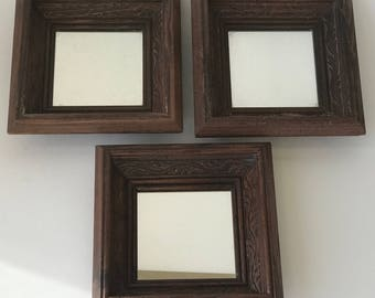 Vintage Set 3 Wall Mirrors Handcrafted Hand Carved Solid Wood Frames Dark Stain