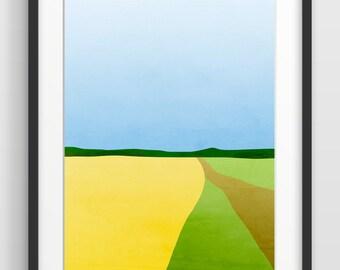 Large Abstract Landscape Art, Mid Century Modern Wall Art, Minimalist Art, Landscape Print