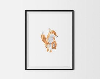 Geometric Art Print, Nursery Art, Baby Room Art, Fox Art Print, Minimal Art Print