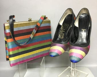 Amazing SILK 60's MOD Set, 1960's Hand Bag Purse, and Matching Shoes Set by Gepetto, Size 7.5 aa, BOOK Piece