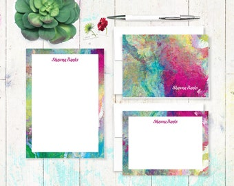 complete personalized stationery set - ABSTRACT ART 1 - letter writing set - note cards - notepad - stationary