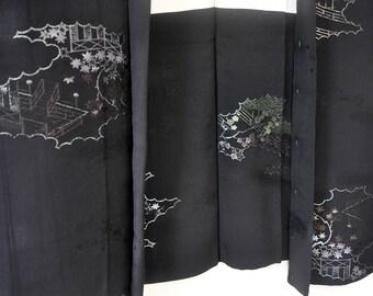 Womens silk kimono jacket/vintage japanese black haori/kimono top/short kimono robe/kimono cardigan/silk robe/boho top/kimono fabric