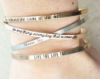 Personalized Bracelet - Inspiration Cuff Bracelet - Personalized Gift - Gold Bracelet - Rose Gold Bracelet - Dainty Cuff Bracelet