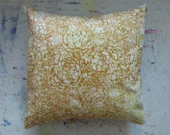 Layered succulent hand screen printed brown and green cushion cover