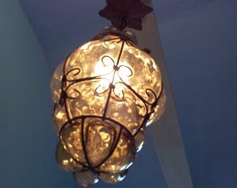 Murano. Light.Luminaire.Glass.Lattern.Amber.. blown glass