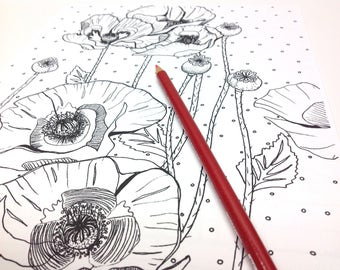 Poppy Coloring Page, Adult Coloring Book, Flower Coloring page, Poppies drawing, Floral artwork, Mother's Day gift, spring flowers artwork