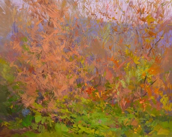Autumn art, Oil landscape painting, Tree wall art, Orange and green painting original artwork of forest by fall