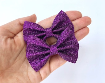 Bright Purple Glitter Felt Pigtail Hair Bow Set // Spring Easter Piggie Bows Hair Clips // Pigtail Bows Mini Bows Baby Toddler Bow