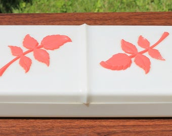 Pretty Vintage Ivory Colored with Raised Pink Leaves Plastic Dresser Box with Lid Catch All Jewelry Box