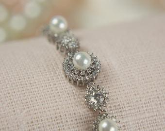 Pearl Crystal Silver Plated Bridal Bracelet Wedding Jewelry CZ Bracelet Pearl Bracelet Cubic Zirconia Bracelet Rhinestone Bracelet Jewels