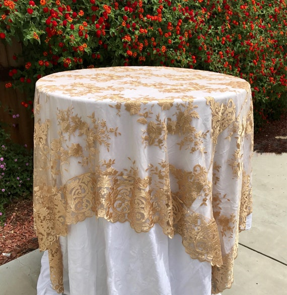 Brand-new SALE Gold embroidered lace table runner gold tablecloth OR24