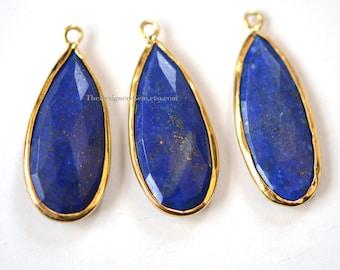 Blue Lapis Lazuli Elongated Pear Vermeil Gold Pendant 30x13mm