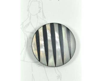 Belle Buttons by Dritz Carded 34 mm 1 3/8 inch - Black and Silver Pearl - Made in Italy - Art Deco Retro - Item #BB1062