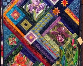 "Iris Quilt Wall Hanging  45x35"""