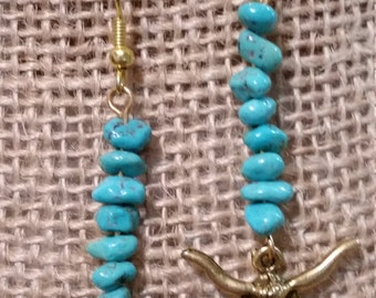 SALE - SALE - Turquoise Earrings, Turquoise Jewelry, LongHorn Steer Earrings, LongHorn Steer Jewelry
